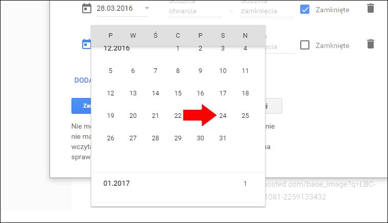 Jak ustawić niestandardowe godziny pracy w Google Moja Firma - poradnik - krok 11