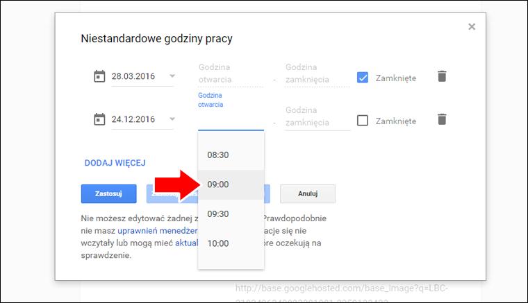 Jak ustawić niestandardowe godziny pracy w Google Moja Firma - poradnik - krok 13