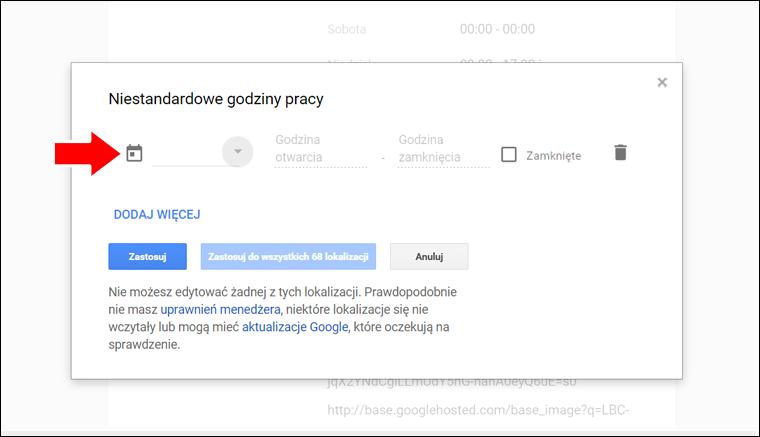 Jak ustawić niestandardowe godziny pracy w Google Moja Firma - poradnik - krok 6
