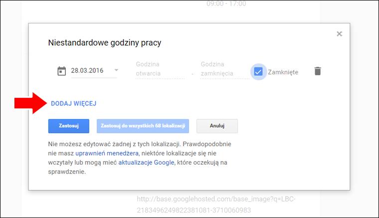 Jak ustawić niestandardowe godziny pracy w Google Moja Firma - poradnik - krok 9