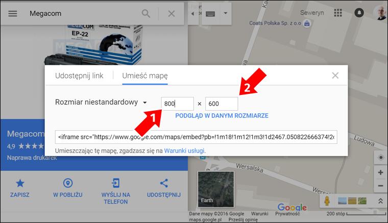 Jak zamieścić Mape Google na stronę internetową - krok 6 - Poradnik