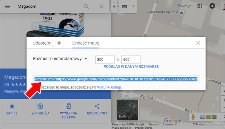 Jak zamieścić Mape Google na stronę internetową - krok 7 - Poradnik