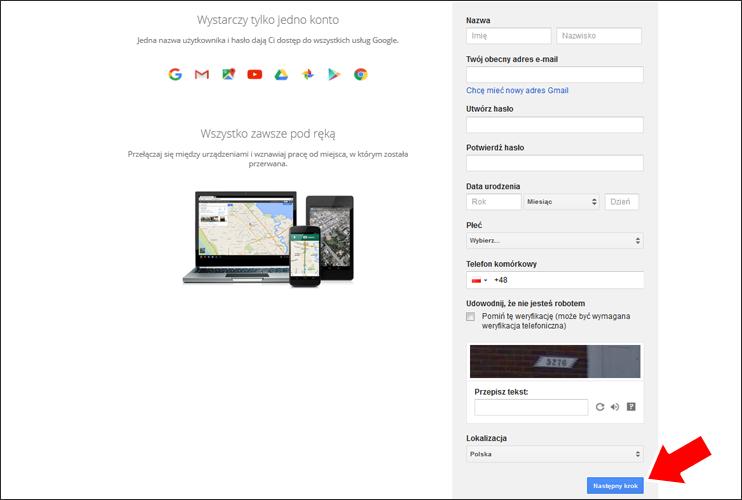 Jak założyć konto Google krok 4 - poradnik