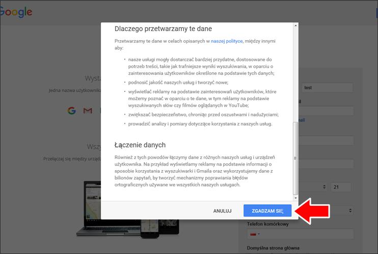 Jak założyć konto Google krok 5 - poradnik