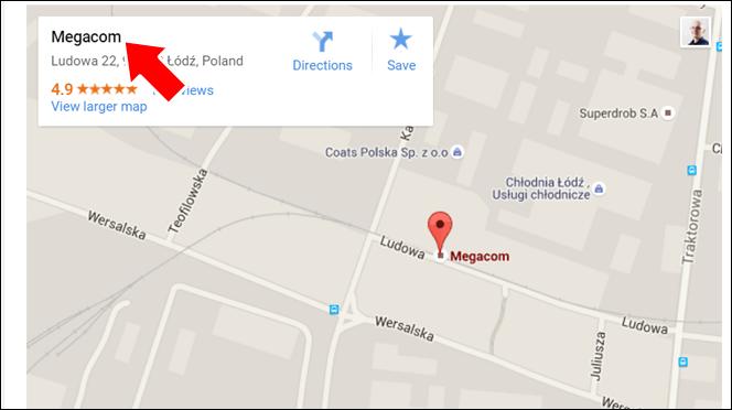 Nazwa firmy - zalety mapki Google na stronie internetowej