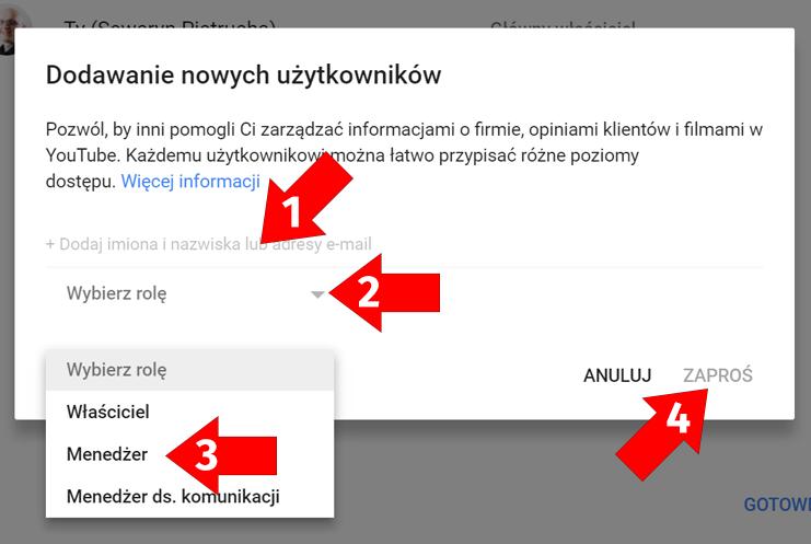 Dodawanie nowych użytkowników do Google Moja Firma