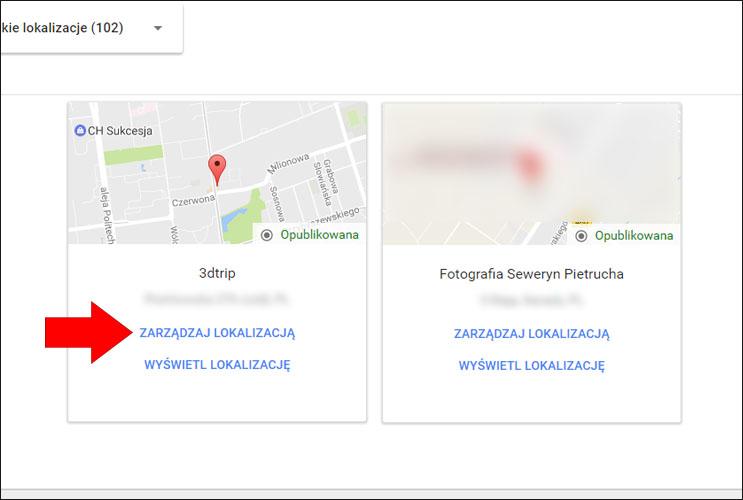 Zarządzanie lokalizacją w Google Moja Firma