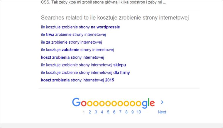 Podpowiedzi Google na dole strony - Jak zoptymalizowac wpis na blogu pod pozycjonowanie - Poradnik