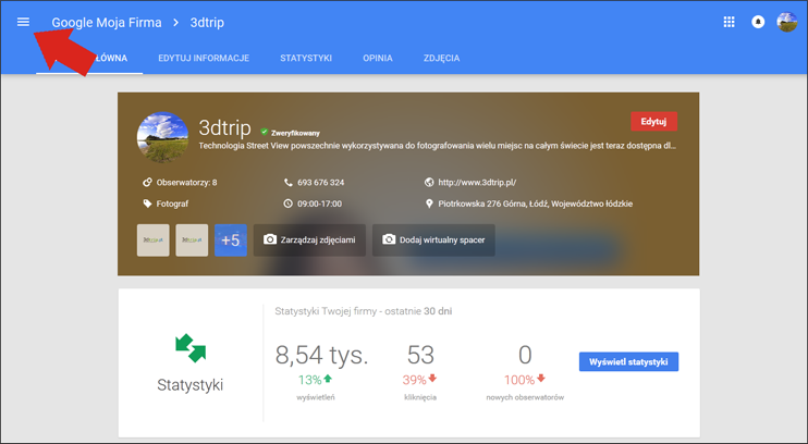 Przycisk menu Google Moja Firma