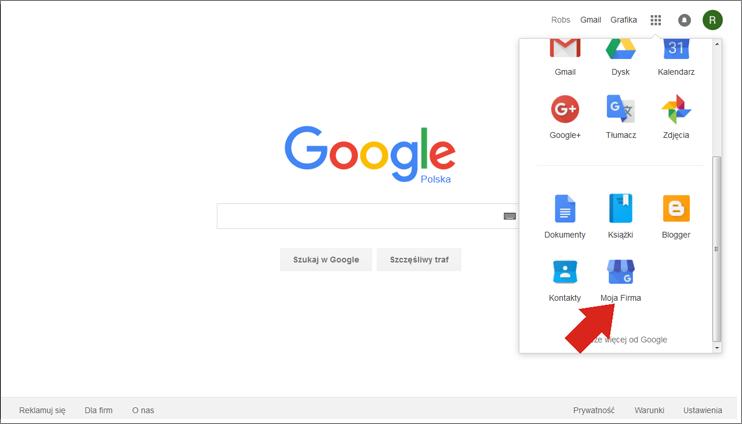 Wybór ikony Google Moja Firma