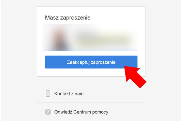 Akceptacja zaproszenia menedzera Google Moja Firma