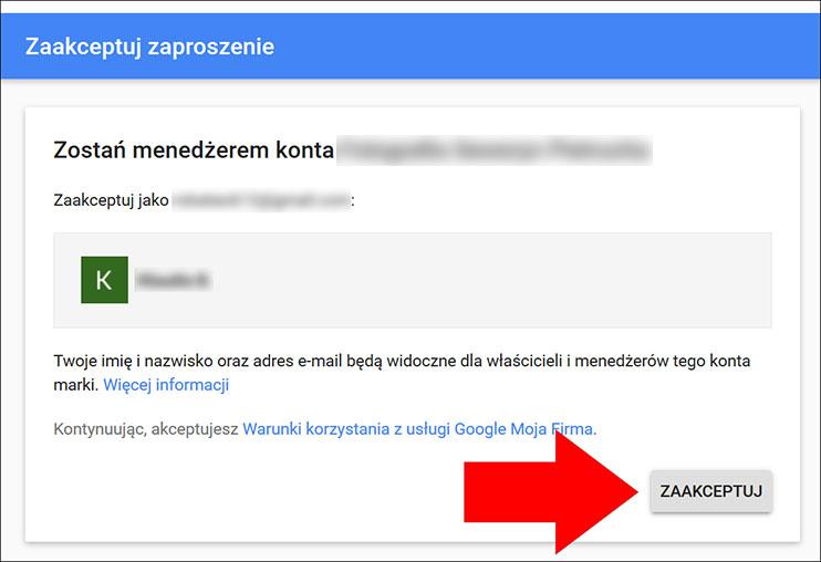 Zaakceptuj zaproszenie - wizytówka Google