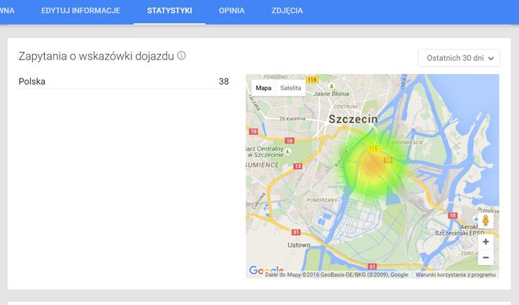 Statystyki wizytówki Google Moja Firma - Statystki, Wskazówki Dojazdu