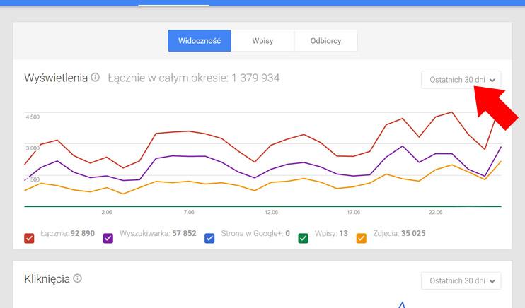 Wizytówka Google Moja Firma - Widoczność
