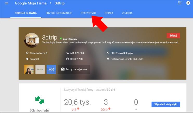 Wizytówka Google Moja Firma - Statystyki