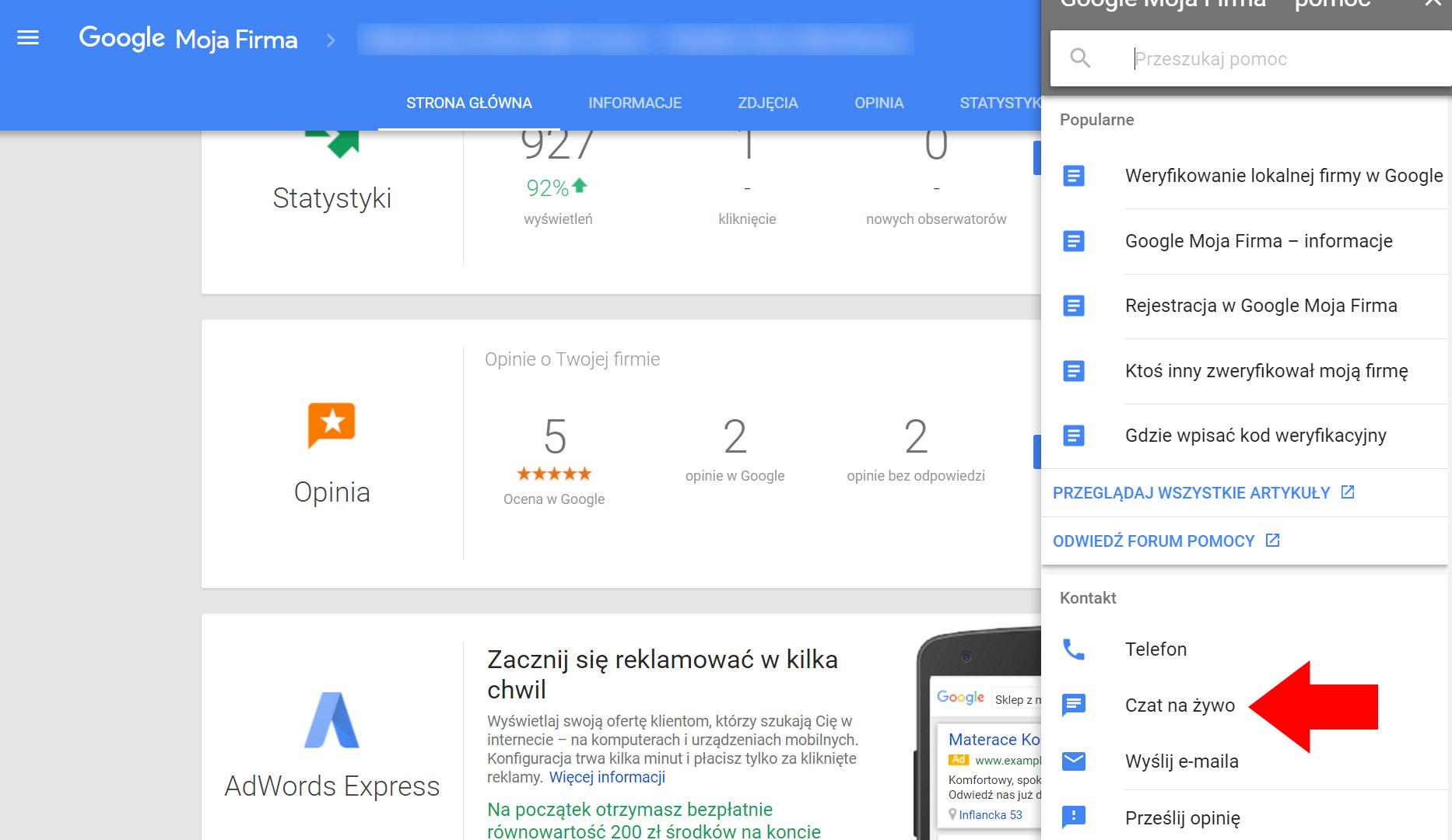 Czat na żywo - Google Moja Firma