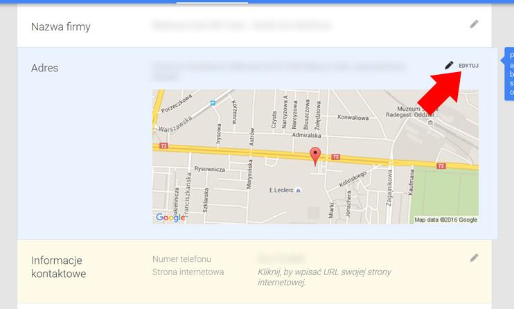 Wizytówka Google Moja Firma - Edytuj adres