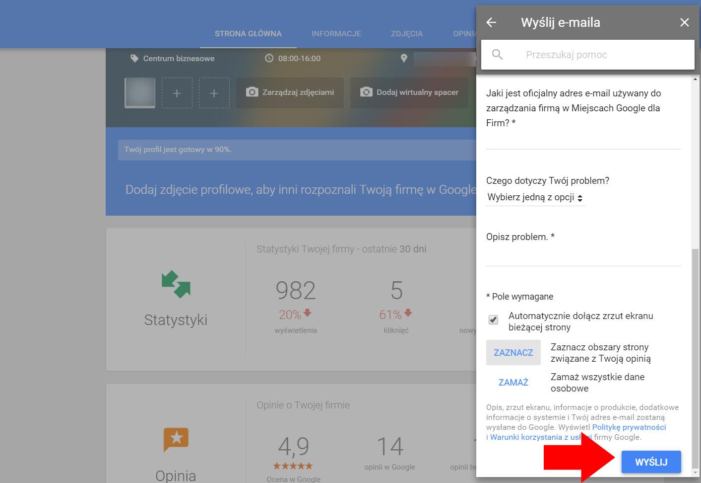 Formularz e-mail - Wizytówka Google Moja Firma