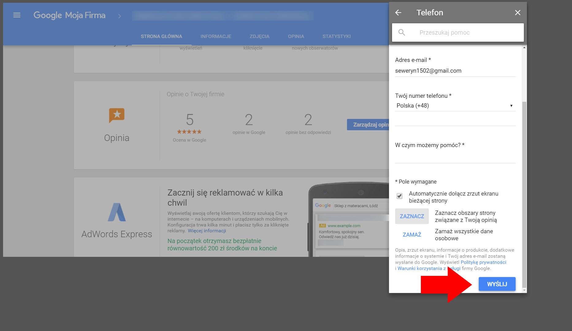 Formularz kontaktu telefonicznego - Google Moja Firma
