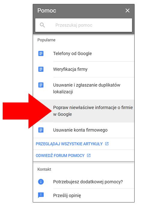 Popraw niewłaściwe informacje o firmie w Google