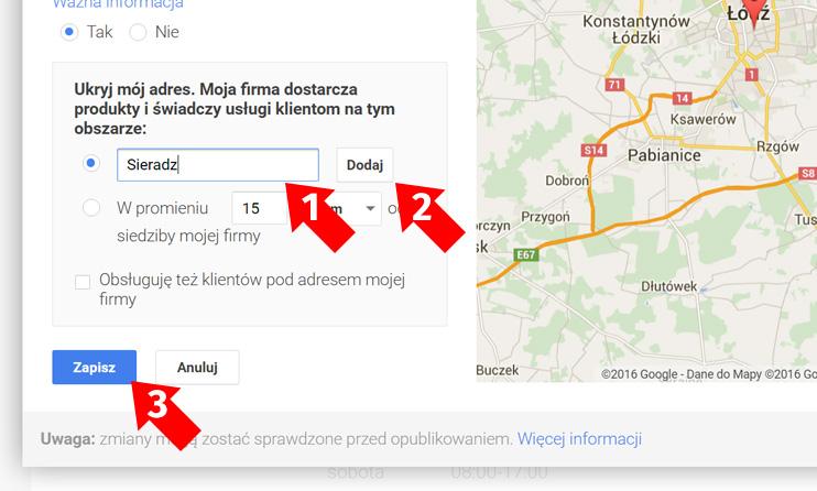 Wizytówka Google Moja Firma - Obszar działania
