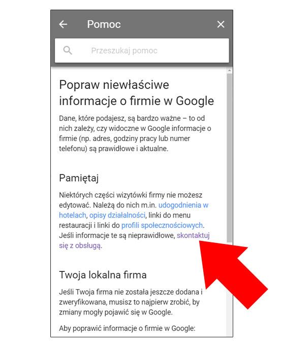 Kontakt z obsługą Google Moja Firma