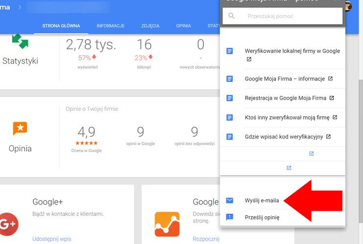 Wyślij e-mail - Wizytówka Google Moja Firma