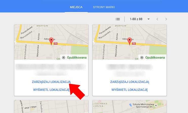 Wizytówka Google Moja Firma - Wybierz lokalizację