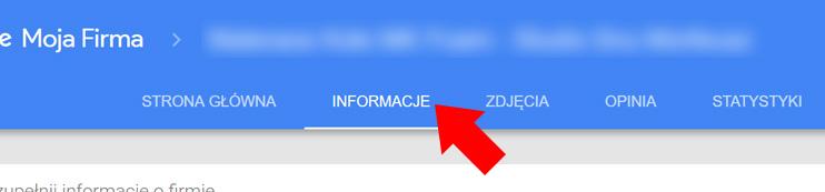 Wizytówka Google Moja Firma - Zakładka informacje
