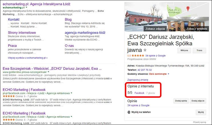 Graf wiedzy - opinie z internetu. Wizytówka Google Moja Firma