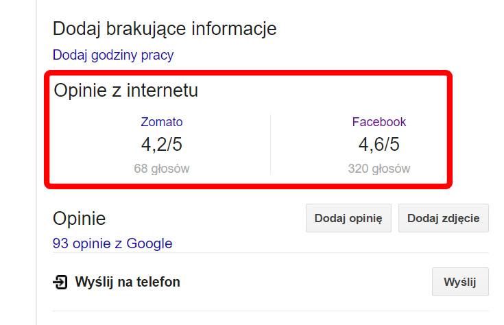 Opinie z portalu Zomato na wizytówce Google