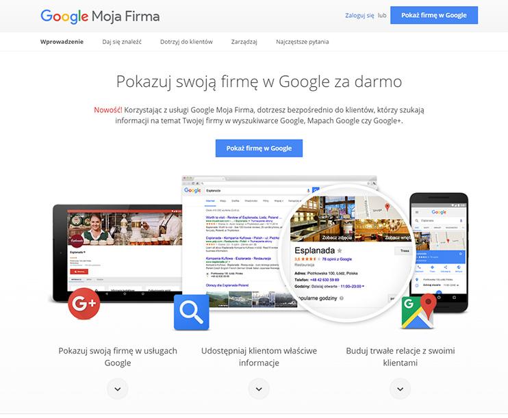 Panel logowania Google Moja Firma