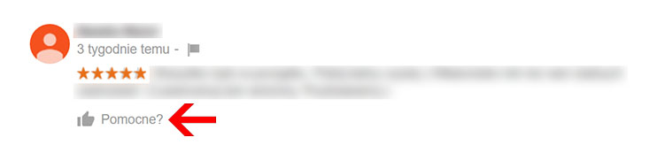 Przycisk Pomocna opinia - Wizytówka Google Moja Firma
