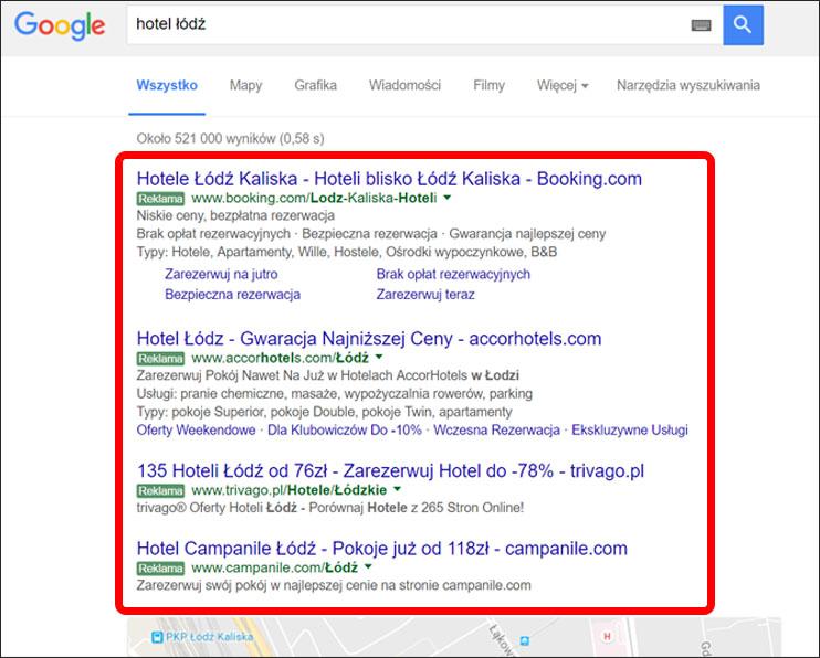 Przykład linków sponsorowanych Google AdWords