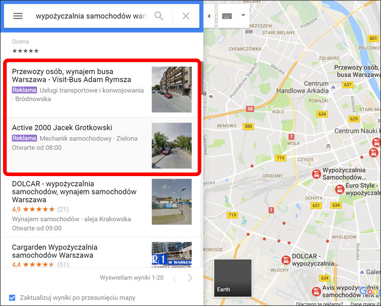 Przykład linków sponsorowanych Google AdWords w Google Maps