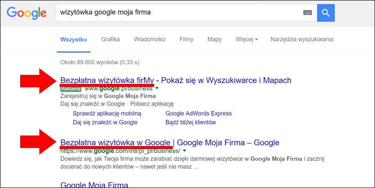 Zrzut ekranowy wyszukiwarki Google - link do Google Moja Firma