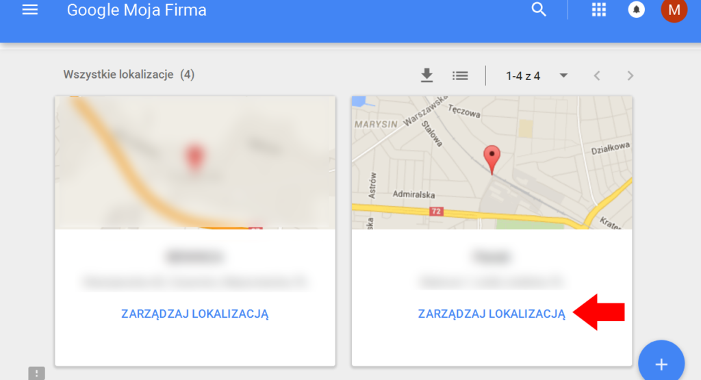 Zarządzaj lokalizacją w Google Moja Firma