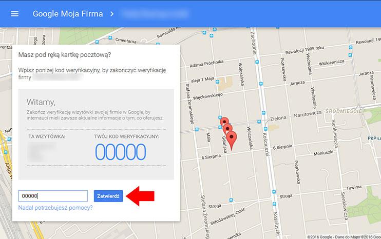 Zatwierdzanie kodu PIN - Google Moja Firma