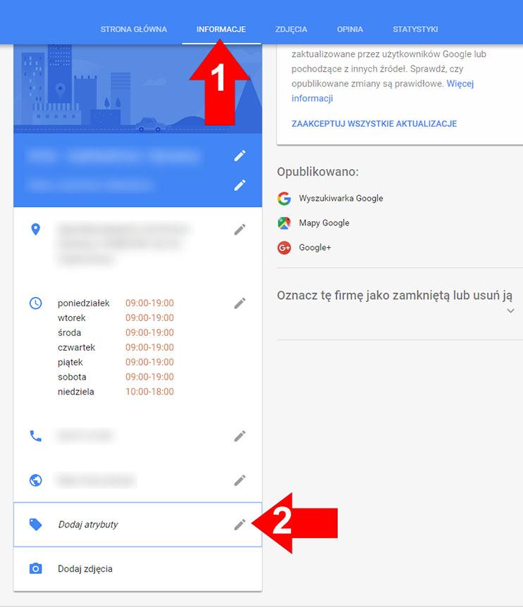 Atrybuty wizytowka Google