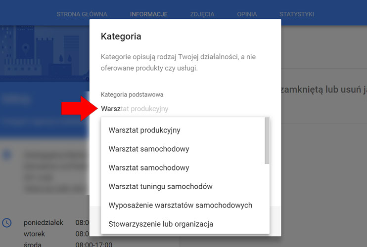 Kategorie na wizytówce Google