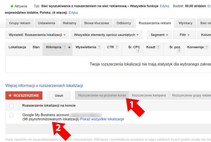 Synchronizacja - Google Moja Firma i Google AdWords