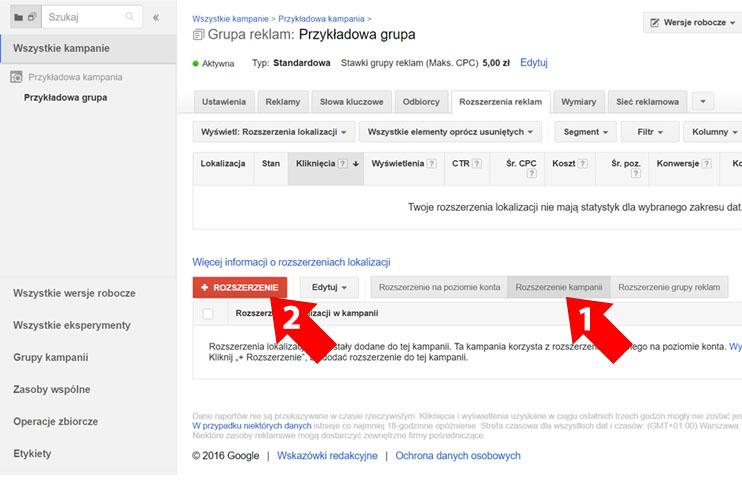 Rozszerzenie Google AdWords na poziomie kampanii