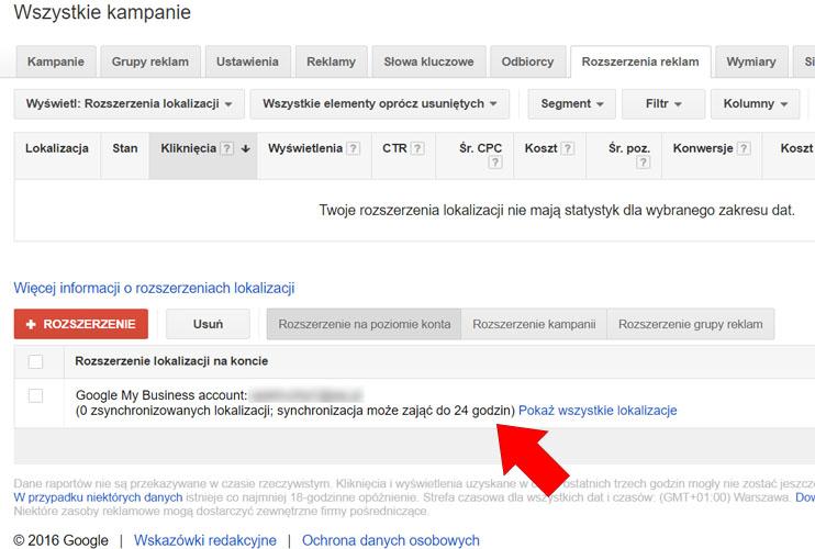 Synchronizowanie konta Google Moja Firma z AdWords