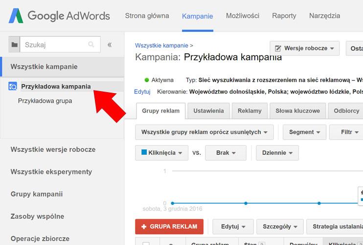 Wybierz kampanię AdWords