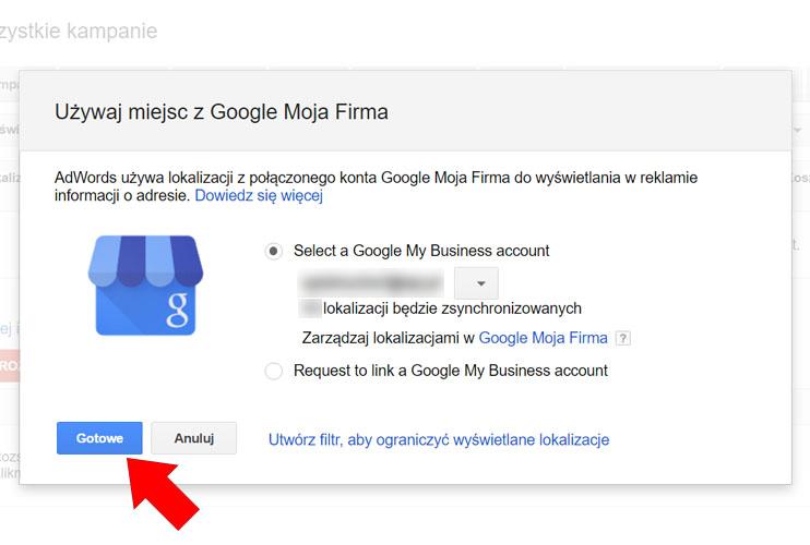 Zatwierdź konto Google Moja Firma