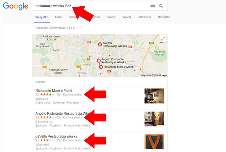 Restauracja włoska - wizytówka Google