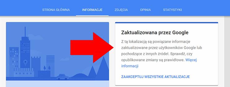 Aktualizacja wizytówki Google Moja Firma