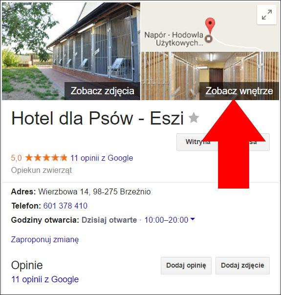 Wirtualny spacer Google na wizytówce hotelu Eszi