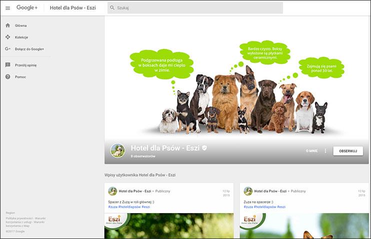 Lokalna strona Google+ - zrzut ekranowy
