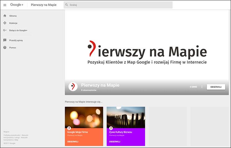 Zrzut ekranowy strony Google Plus marki